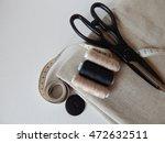 thread on linen fabric scissors  | Shutterstock . vector #472632511