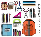drawing school supplies. back... | Shutterstock .eps vector #472643827