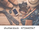 travel accessories on wooden... | Shutterstock . vector #472660567