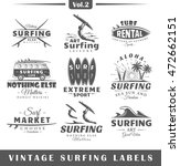 set of vintage surfing labels.... | Shutterstock .eps vector #472662151