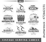 set of vintage surfing labels.... | Shutterstock .eps vector #472662151