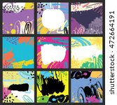 set of 9 vector abstract cards. ... | Shutterstock .eps vector #472664191