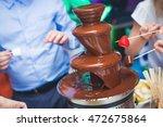 vibrant chocolate fountain on... | Shutterstock . vector #472675864