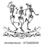 happy halloween dancing... | Shutterstock .eps vector #472683034