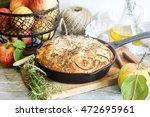 apple olive oil rosemary cake | Shutterstock . vector #472695961