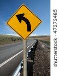 warning turn left traffic sign | Shutterstock . vector #47273485