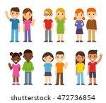set of cute cartoon diverse... | Shutterstock .eps vector #472736854