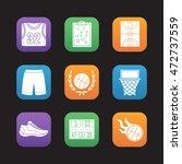 basketball flat design icons...