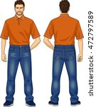 the man in jeans and a polo neck | Shutterstock .eps vector #472797589