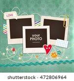 collage photo frame on vintage... | Shutterstock .eps vector #472806964