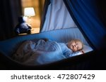 adorable baby sleeping in blue... | Shutterstock . vector #472807429