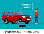 worried driver calling roadside ... | Shutterstock .eps vector #472812241