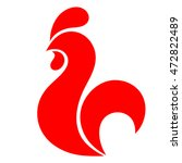 rooster icon. rooster logo. red ... | Shutterstock .eps vector #472822489
