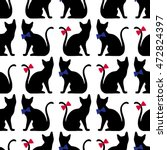 Stock vector seamless pattern with black cat silhouette vector background 472824397