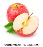 isolated apple. cut red apple... | Shutterstock . vector #472838725