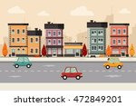 autumn city background. flat... | Shutterstock .eps vector #472849201