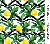 lemon vector pattern with zig... | Shutterstock .eps vector #472854877
