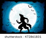 dark halloween background with... | Shutterstock .eps vector #472861831