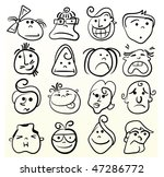 Funny Doodle Face Vector...