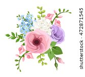 vector bouquet of pink  purple  ... | Shutterstock .eps vector #472871545