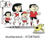 happy asian family jogging with ... | Shutterstock .eps vector #47287603