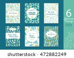 six abstract vintage wedding... | Shutterstock .eps vector #472882249