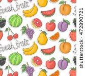 fresh fruit sticker pattern...   Shutterstock . vector #472890721
