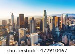 Stock photo aerial view of a downtown los angeles at sunset 472910467