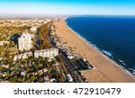 Small photo of Aerial view of the beach in Santa Monica, CA