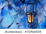 lamp on the tree. new year's... | Shutterstock . vector #472966435