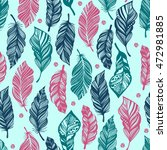 seamless pattern with feathers. ... | Shutterstock .eps vector #472981885