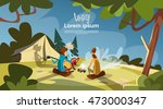 tent camping tourist group sit... | Shutterstock .eps vector #473000347