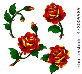 vector tattoo roses clip art in ... | Shutterstock .eps vector #473009989