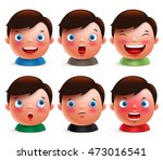 young boy kid avatar facial... | Shutterstock .eps vector #473016541