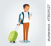 boy traveler with smart phone | Shutterstock .eps vector #473019127