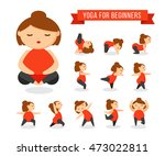 funny cartoon woman in yoga... | Shutterstock .eps vector #473022811