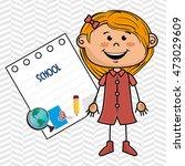 girl cartoon school student... | Shutterstock .eps vector #473029609