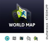 world map color icon  vector... | Shutterstock .eps vector #473034199