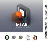 e tab color icon  vector symbol ...