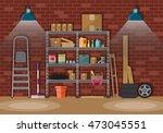 interior of storeroom with... | Shutterstock . vector #473045551