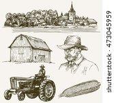 Farm  Rural Village. Hand Draw...