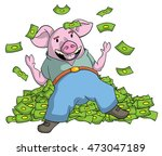 greedy pig on a pile of money