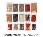 various spices and herbs packed ...   Shutterstock . vector #473060614