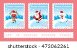 Set Of Holiday Postage Stamps...
