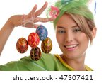 Woman With Easter Eggs. Focus...