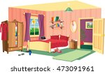 bedroom scene. | Shutterstock .eps vector #473091961