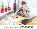 desperate and worried young... | Shutterstock . vector #473098939