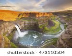 The Palouse Falls in Washington, USA, photographed in beautiful evening sunlight.