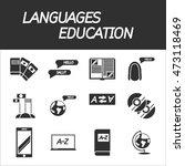 languages education icon set.