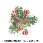 colorful floral collection with ... | Shutterstock . vector #473135275
